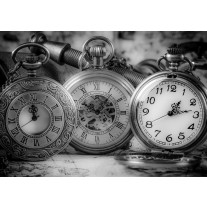 Fotobehang Papier Klok, Keuken | Grijs | 368x254cm