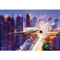 Fotobehang Papier Vliegtuig | Blauw, Paars | 368x254cm