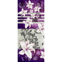 Deursticker Muursticker Bloemen | Paars, Grijs | 91x211cm