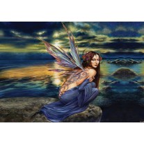 Fotobehang Papier Alchemy Gothic, Vrouw | Blauw | 368x254cm