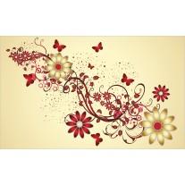 Fotobehang Papier Bloemen | Geel, Rood | 254x184cm