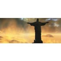 Fotobehang Jezus, Brazilië | Zwart | 250x104cm
