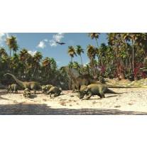 Fotobehang Papier Jungle, Dinosaurussen | Groen | 254x184cm