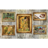 Fotobehang Papier Hout, Schilderijen | Geel | 368x254cm
