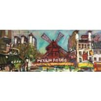 Fotobehang Moulin Rouge | Grijs | 250x104cm