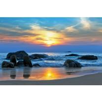 Fotobehang Papier Zee | Blauw, Geel | 368x254cm