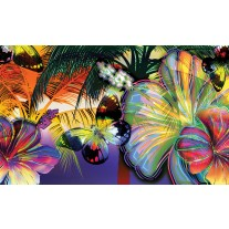 Fotobehang Papier Vlinder, Bloemen | Geel | 368x254cm