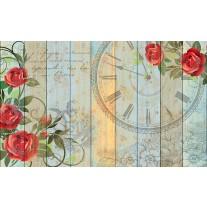 Fotobehang Papier Hout, Bloemen | Rood | 368x254cm