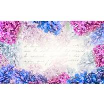 Fotobehang Papier Bloemen | Roze, Blauw | 368x254cm