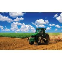 Fotobehang Papier Natuur, Tractor | Blauw | 368x254cm