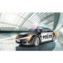 Fotobehang Papier Politieauto | Grijs | 368x254cm