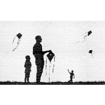 Fotobehang Papier Street Art | Zwart, Wit | 368x254cm