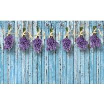 Fotobehang Papier Hout, Bloemen | Blauw | 254x184cm