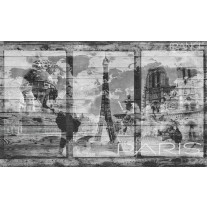 Fotobehang Papier Hout, Parijs | Grijs | 254x184cm