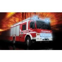 Fotobehang Papier Brandweerauto | Rood, Oranje | 368x254cm