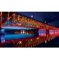 Fotobehang Brug | Rood, Blauw | 152,5x104cm