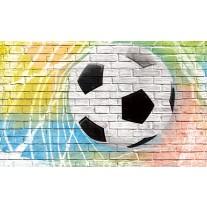Fotobehang Papier Voetbal, Muur | Geel | 368x254cm