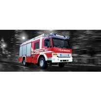 Fotobehang Brandweerauto | Zwart, Rood | 250x104cm