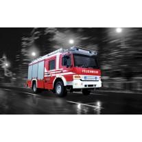 Fotobehang Brandweerauto | Zwart, Rood | 152,5x104cm