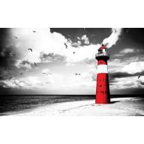 Fotobehang Vuurtoren | Grijs, Rood | 152,5x104cm