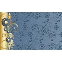Fotobehang Papier Bloemen | Goud, Blauw | 254x184cm