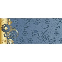 Fotobehang Bloemen | Goud, Blauw | 250x104cm