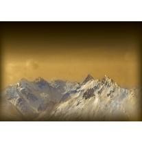 Fotobehang Bergen, Sneeuw | Bruin, Wit | 104x70,5cm