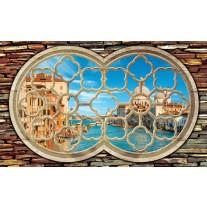 Fotobehang Papier Venetië, Muur | Blauw | 368x254cm