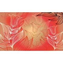Fotobehang Papier Bloemen | Rood | 254x184cm