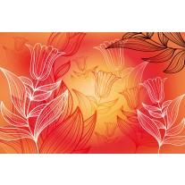 Fotobehang Papier Bloemen | Rood, Oranje | 254x184cm