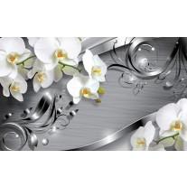 Fotobehang Papier Bloemen, Orchidee | Zilver | 368x254cm