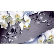 Fotobehang Papier Bloemen, Orchidee | Wit | 368x254cm