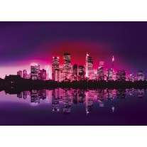 Fotobehang Papier Skyline, Steden | Paars | 254x184cm