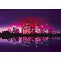 Fotobehang Papier Skyline, Steden | Paars | 368x254cm