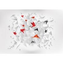 Fotobehang Papier 3D, Origami | Rood | 254x184cm
