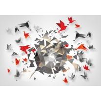Fotobehang Papier 3D, Origami | Grijs | 368x254cm