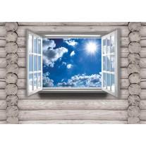 Fotobehang Papier Hout, Lucht | Blauw | 254x184cm