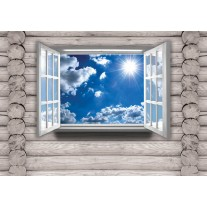 Fotobehang Hout, Lucht | Blauw | 152,5x104cm