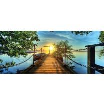 Fotobehang Natuur, Brug | Blauw | 250x104cm