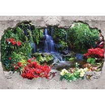Fotobehang Papier Waterval, 3D | Groen | 254x184cm