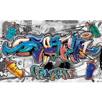 Fotobehang Papier Graffiti | Grijs, Blauw | 254x184cm