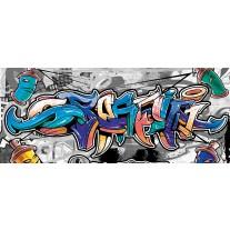 Fotobehang Graffiti | Grijs, Blauw | 250x104cm