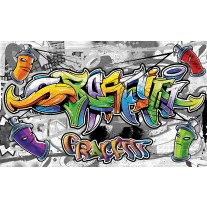 Fotobehang Papier Graffiti | Grijs, Geel | 254x184cm
