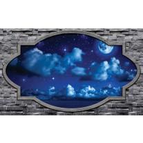 Fotobehang Muur, Nacht | Blauw | 152,5x104cm