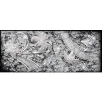 Fotobehang Muur, Bloemen | Grijs | 250x104cm