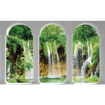 Fotobehang Papier Natuur, Waterval | Groen | 254x184cm