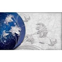 Fotobehang Papier Bloemen, Modern | Blauw | 368x254cm