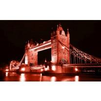 Fotobehang Papier London, Brug | Rood | 368x254cm