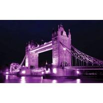 Fotobehang Papier London, Brug | Paars | 254x184cm