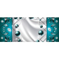 Fotobehang Modern, Slaapkamer | Zilver, Turquoise | 250x104cm